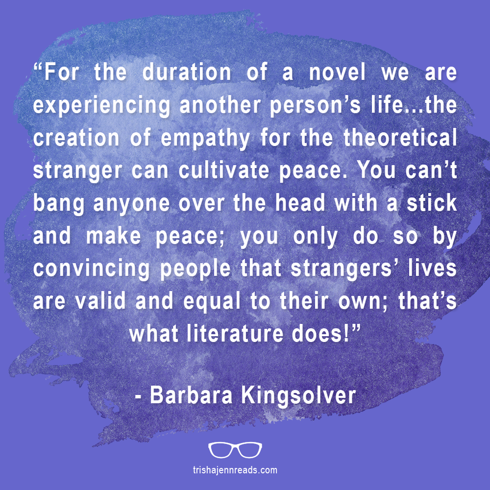 Cultivate peace quote - Barbara Kingsolver | on trishajennreads