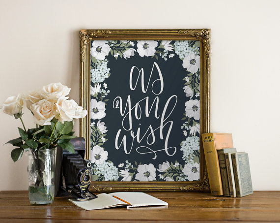 as you wish script font inside flowers