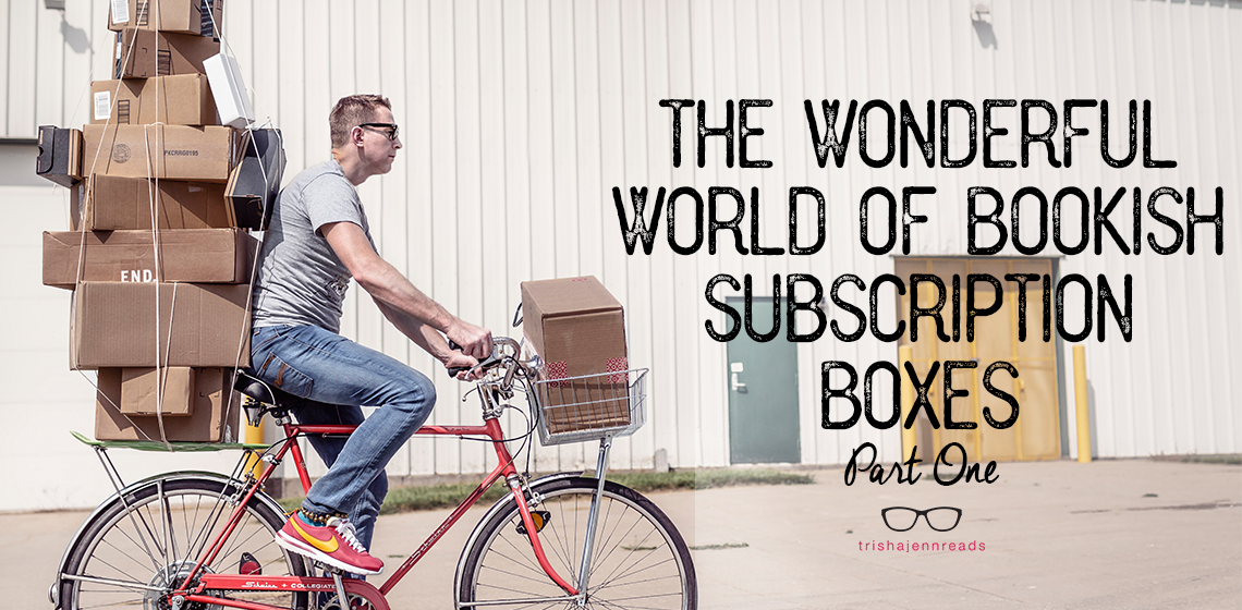 man on bike with lots of boxes. The wonderful world of bookish subscription boxes