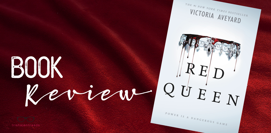 Red velvet backdrop with Red Queen book cover. Book review on trishajennreads