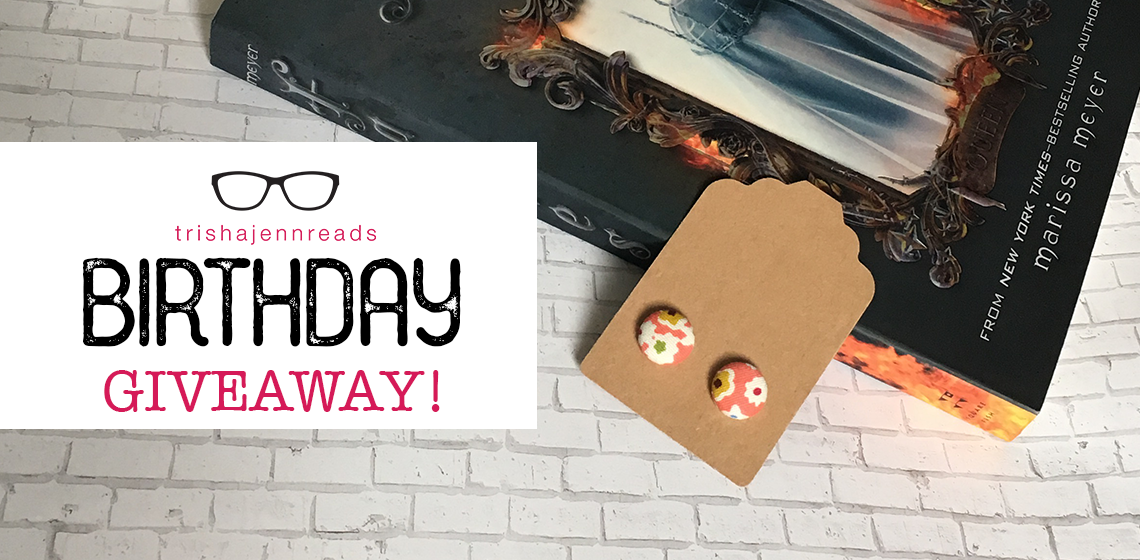book and earrings, birthday giveaway on trishajennreads