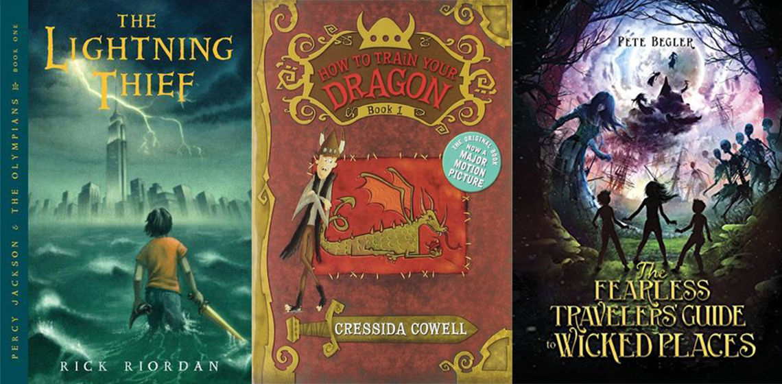 Middle Grade books: The Lightning Thief, How to Train Your Dragon, The Fearless Traveller's Guide to Wicked Places