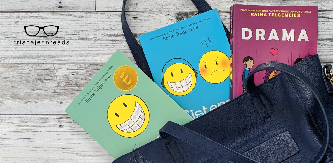 Memoirs for middle grade readers - and they're graphic novels too! on trishajennreads.com | photo of Smile, Sisters and Drama by Raina Telgemeier in a blue tote bag