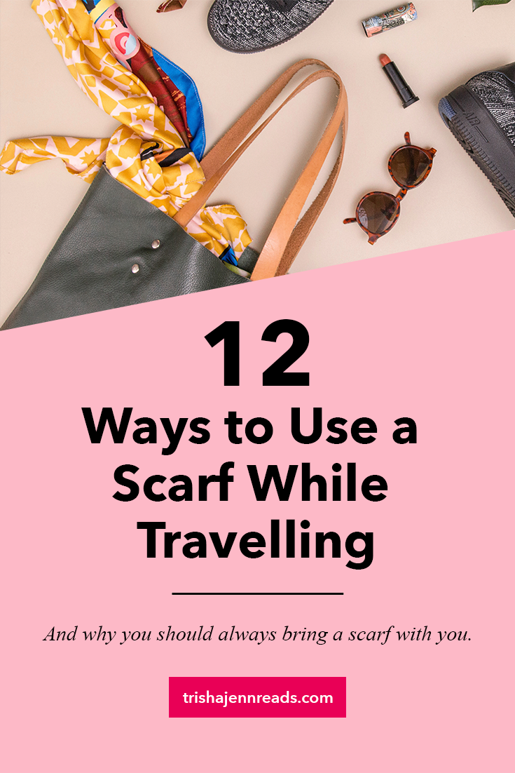 12 Ways to Use a Scarf While Travelling on trishajennreads | An image of a scarf and other items falling out of a tote baf.