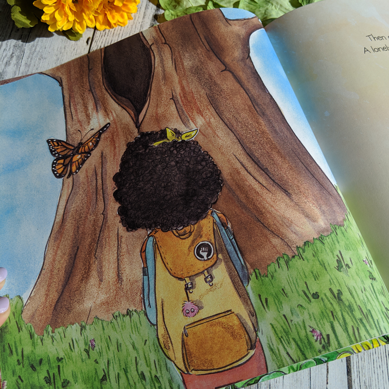 illustration from Bea's Bees - A little girl standing in front of a tree