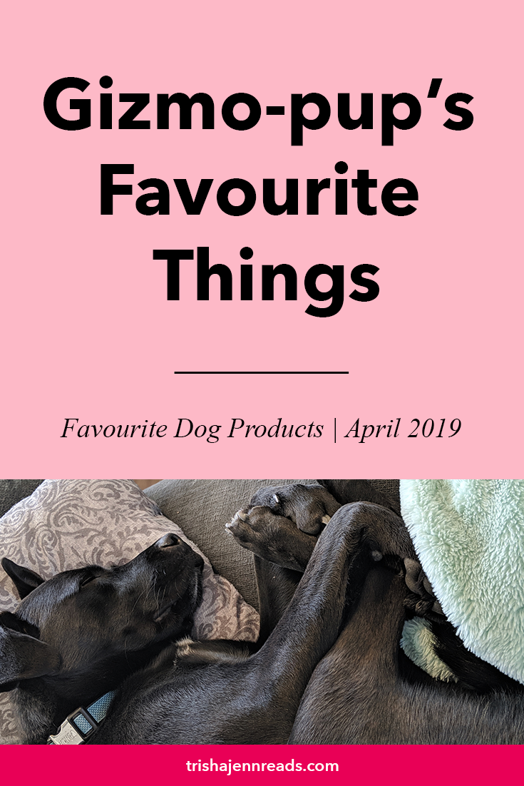 Gizmo-pup's favourite things | best dog products, April 2019 | on trishajennreads.com | image of a sleeping black dog