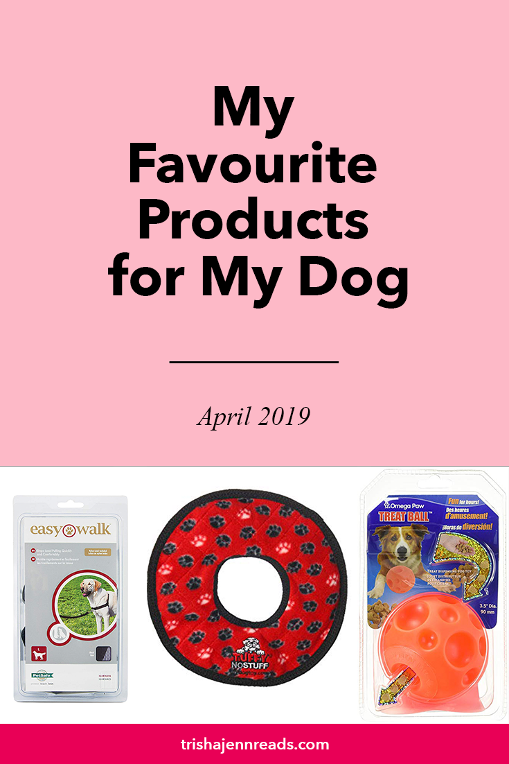 My favourite dog products April 2019 on trishajennreads | Image of a dog harness, a plush ring toy and a treat dispensing ball