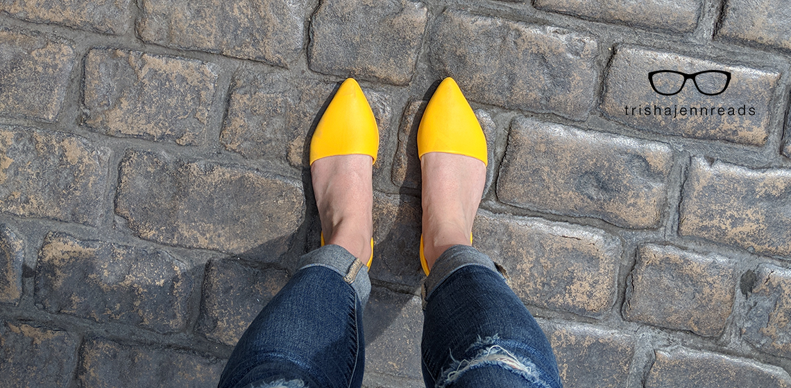 Oh, hello. I didn't expect to see you again any time soon. Writing prompt on trishajennreads.com | Photo of yellow shoes on cobblestones. on trishajennreads.com