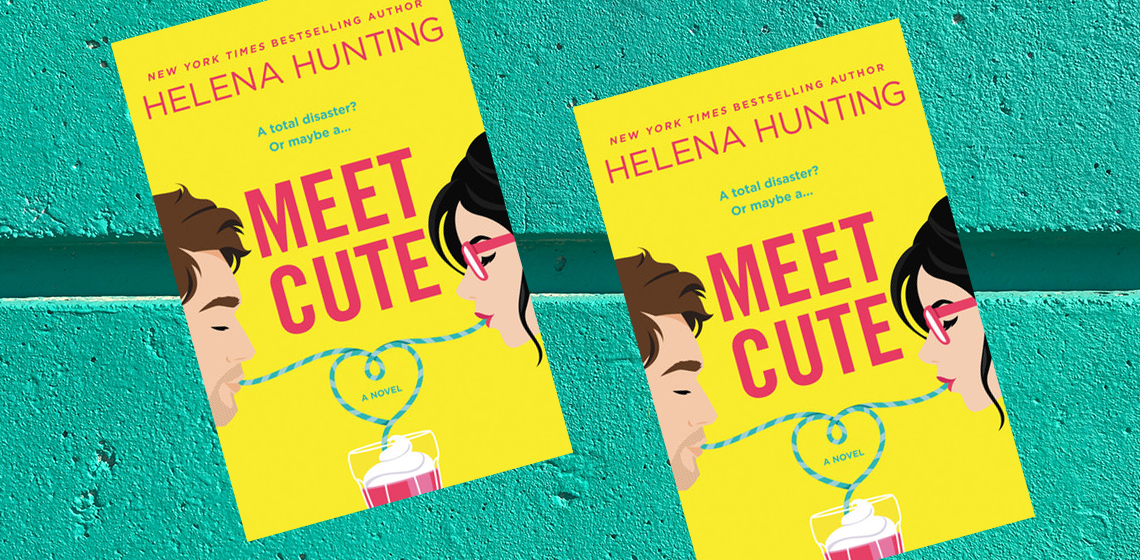 Meet Cute by Helena Hunting - Book cover on a teal background