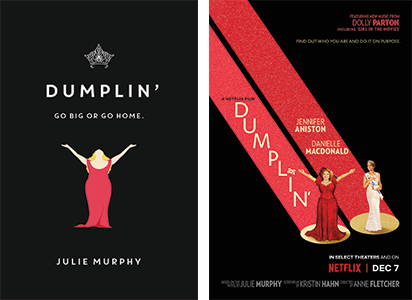 Dumplin book cover and movie poster