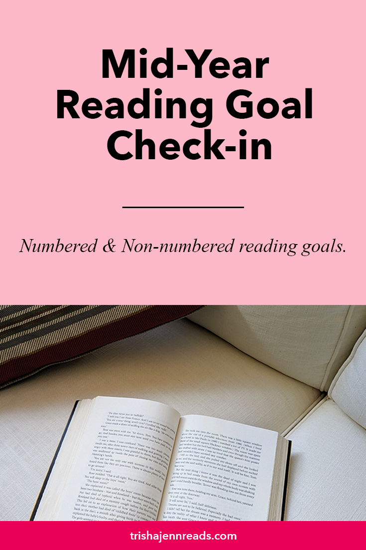 Image: a book open on a white couch | Text: Mid-year Reading Goal Check-in, Numbered and non-numbered reading goals