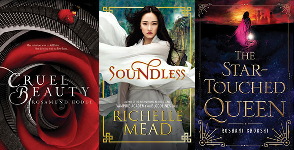 Book covers for Cruel Beauty, Soundless, The Star-Touched Queen