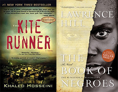 Book covers of The Kite Runner, The Book of Negroes