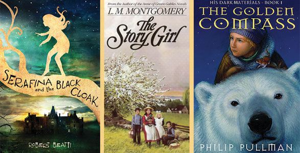 Book covers for Serafina and the Black Cloak, The Story Girl, The Golden Compass