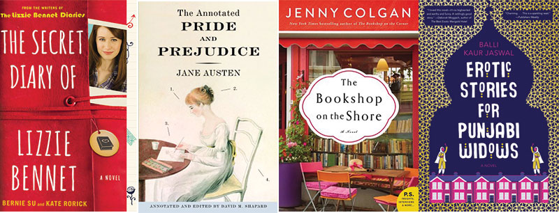 Book covers for The Secret Diary of Lizzie Bennet, The Annotated Pride and Prejudice, The Bookshop on the Shore, Erotic Stories for Punjabi Widows
